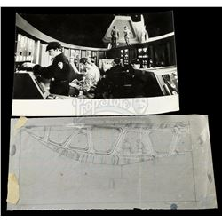 STAR WARS: THE EMPIRE STRIKES BACK (1980) - Ralph McQuarrie Hand-Drawn Bridge Sketch and Photo