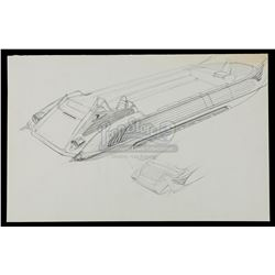 STAR WARS: RETURN OF THE JEDI (1983) - Ralph McQuarrie Hand-Drawn Illustration - Tatooine Skiff