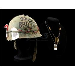 TROPIC THUNDER (2008) - Alpa Chino's (Brandon T. Jackson) Helmet, Dog Tags, and Necklace