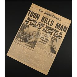 WHO FRAMED ROGER RABBIT (1988) - Los Angeles Chronicle 'Toon Kills Man' Newspaper
