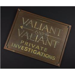 "WHO FRAMED ROGER RABBIT (1988) - ""Valiant and Valiant Private Investigations"" Office Sign"