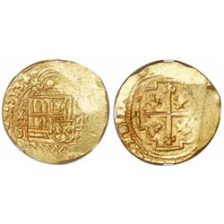 Mexico City, Mexico, cob 8 escudos, 1713J, encapsulated NGC MS 62 with WINGS gold sticker, from the
