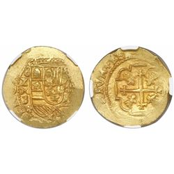 Mexico City, Mexico, cob 4 escudos, Philip V, assayer J (style of 1711-13), encapsulated NGC MS 63,