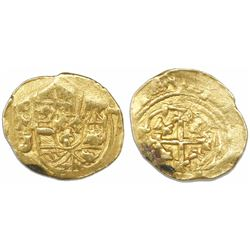 Mexico City, Mexico, cob 1 escudo, (1712)J, mintmark oM (one-year type), from the 1715 Fleet.