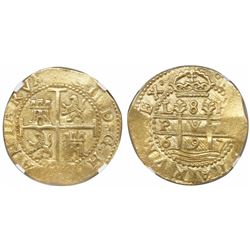 Lima, Peru, cob 8 escudos, 1697H,  PVA  variety, very rare, encapsulated NGC MS 62, finest and only