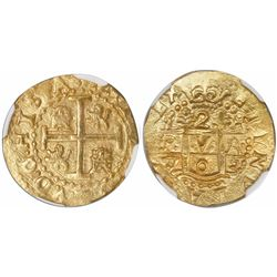 Lima, Peru, cob 2 escudos, 1703H, rare, encapsulated NGC MS 65, finest known in NGC census, from the