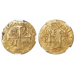 Lima, Peru, cob 8 escudos, 1707H, encapsulated NGC AU 58, finest known in NGC census, from the 1715