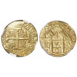 Lima, Peru, cob 4 escudos, 1709M, very rare, encapsulated NGC MS 63, finest and only specimen in NGC