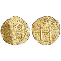 Lima, Peru, cob 2 escudos, 1709M, encapsulated NGC MS 65, finest known in NGC census, from the 1715