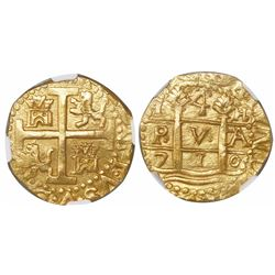 Lima, Peru, cob 4 escudos, 1710H, rare, encapsulated NGC MS 65, finest known in NGC census, from the