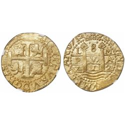 Lima, Peru, cob 8 escudos, 1712M, encapsulated NGC MS 64, from the 1715 Fleet (designated on label).