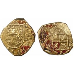 Cartagena, Colombia, cob 2 escudos, Philip IV, assayer E below mintmark C to right, style of 1632-3.