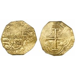 Bogota, Colombia, cob 2 escudos, Philip IV, assayer R below denomination II to right (mintmark NR to
