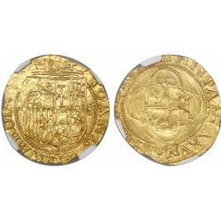 Seville, Spain, 1 escudo, Charles-Joanna, assayer Gothic D to left, mintmark S to right, encapsulate
