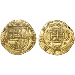 Seville, Spain, cob 2 escudos, Philip II, assayer Gothic D below mintmark S to left.