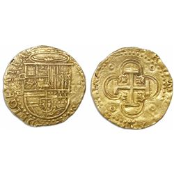 Seville, Spain, cob 2 escudos, Philip II, assayer Gothic D above and below mintmark S to left.