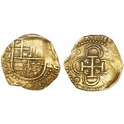 Seville, Spain, cob 2 escudos, (158)8 date to right, assayer Gothic D below mintmark S and denominat
