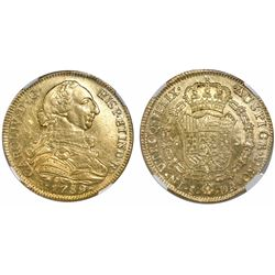 Santiago, Chile, bust 8 escudos, Charles IV transitional (bust of Charles III, ordinal IV), 1789DA,