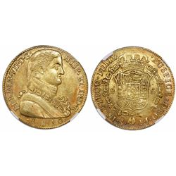 "Santiago, Chile, bust 8 escudos, Ferdinand VII transitional (""admiral"" bust), 1810FJ, encapsulated N"