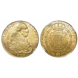 Bogota, Colombia, bust 8 escudos, Charles IV, 1797JJ, encapsulated NGC MS 62.
