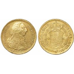 Popayan, Colombia, bust 4 escudos, Charles III, 1773JS.