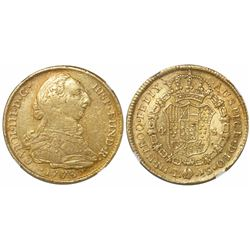 Popayan, Colombia, bust 4 escudos, Charles III, 1773JS, encapsulated NGC VF 30.