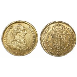 Bogota, Colombia, bust 2 escudos, Charles III, 1780JJ.