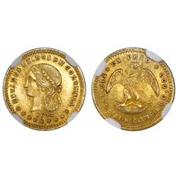 Medellin, Colombia, 1 peso, 1872 with 8/8 and 2/2, condor type, encapsulated NGC MS 65.