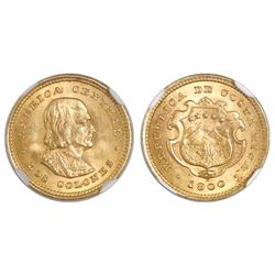Costa Rica, 2 colones, 1900, encapsulated NGC MS 64.
