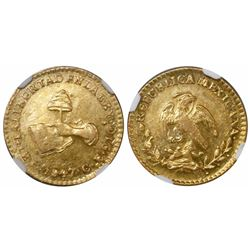 Culiacan, Mexico, 1 escudo, 1847CE, encapsulated NGC AU 58, finest and only specimen in NGC census.