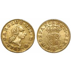 Seville, Spain, bust 1/2 escudo, Charles III (first bust), 1767VC.