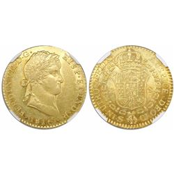 Seville, Spain, bust 2 escudos, Ferdinand VII, 1816CJ, encapsulated NGC AU details / rev scratched.