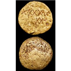 "Large gold disk, 1434 grams, fineness 0.926, marked ""XXXXV"" and monogram of V over upside-down V, fr"