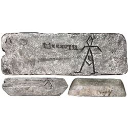 Large silver bar #626, 89 lb 11.68 oz troy, Class Factor 0.8, with markings of manifest 1038, finene