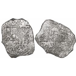 Mexico City, Mexico, cob 8 reales, Philip III, assayer not visible, Grade 3, with Fisher tag but cer