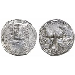Potosi, Bolivia, cob 8 reales, Philip II, assayer B (5th period), Grade 1, with tag but certificate
