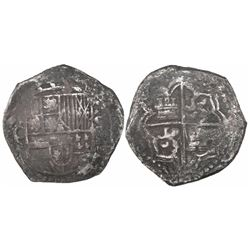 Potosi, Bolivia, cob 8 reales, Philip III, assayer Q, Grade-1 or -2 quality (20 points), with hand-s