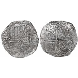 Potosi, Bolivia, cob 8 reales, Philip III, assayer T, upper half of shield transposed, Grade 1, with