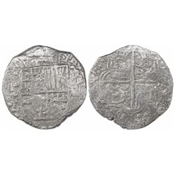 Potosi, Bolivia, cob 8 reales, Philip III, assayer T, Grade 1, with tag but certificate missing.