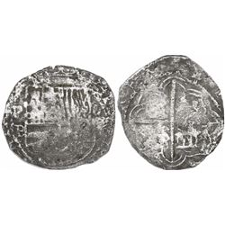 Potosi, Bolivia, cob 4 reales, Philip II, assayer B (5th period), borders of x's, Grade-2 quality (1