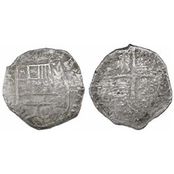 Potosi, Bolivia, cob 4 reales, Philip III, assayer not visible, Grade-2 quality (12 points), with ha