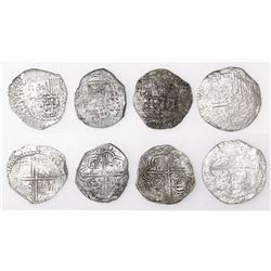 Lot of four Potosi, Bolivia, cob 4 reales, Philip III, various assayers (where visible), all Grade 2