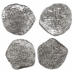 Lot of two Potosi, Bolivia, cob 4 reales, Philip III, assayers not visible, one Grade-2 quality but