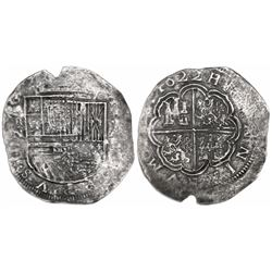 Cartagena, Colombia, cob 8 reales, 1622, assayer A to right, mintmark RN to left, no pomegranate und
