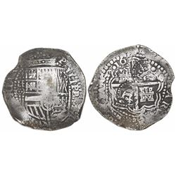 Potosi, Bolivia, cob 8 reales, 165(1)O, with two crowned-C countermarks on cross (rare).