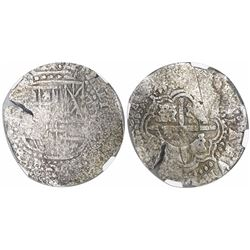 Potosi, Bolivia, cob 8 reales, (1650-51)O, with crowned-? countermark on cross, encapsulated NGC gen