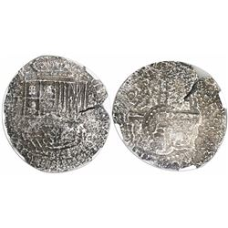 Potosi, Bolivia, cob 8 reales, (1650-52)(O or E), with crowned-L countermark on cross, encapsulated