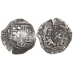 Potosi, Bolivia, cob 4 reales, (1650-1)O, with crowned-L countermark on cross.