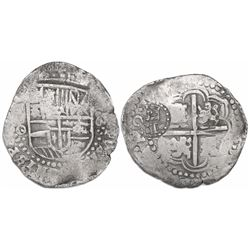 Potosi, Bolivia, cob 8 reales, (1649)O, with crowned-T countermark on cross.