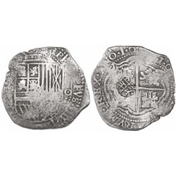 Potosi, Bolivia, cob 8 reales, 16(50)O with dots between digits, with crude lions-and-castles counte